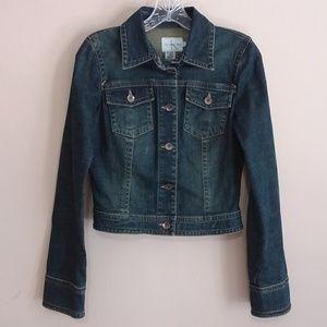 Calvin Klein Girl's Dark Wash Cropped Denim Jacket